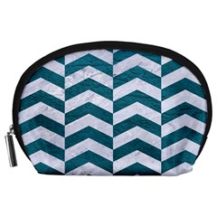 Chevron2 White Marble & Teal Leather Accessory Pouches (large)  by trendistuff