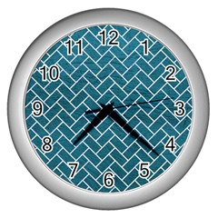 Brick2 White Marble & Teal Leather Wall Clocks (silver)  by trendistuff