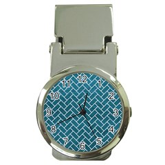 Brick2 White Marble & Teal Leather Money Clip Watches by trendistuff