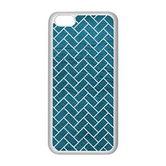 Brick2 White Marble & Teal Leather Apple Iphone 5c Seamless Case (white) by trendistuff