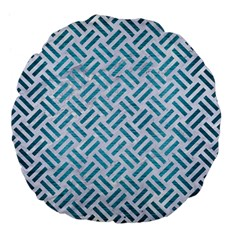 Woven2 White Marble & Teal Brushed Metal (r) Large 18  Premium Flano Round Cushions by trendistuff