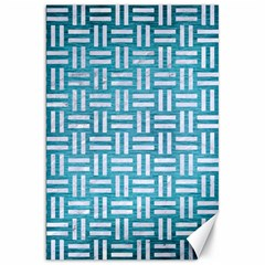 Woven1 White Marble & Teal Brushed Metal Canvas 20  X 30   by trendistuff