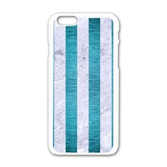 Stripes1 White Marble & Teal Brushed Metal Apple Iphone 6/6s White Enamel Case by trendistuff