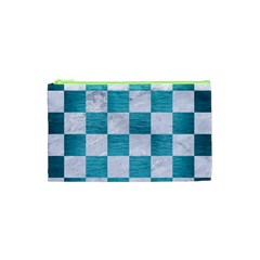 Square1 White Marble & Teal Brushed Metal Cosmetic Bag (xs) by trendistuff