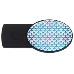 Scales3 White Marble & Teal Brushed Metal (r) Usb Flash Drive Oval (2 Gb) by trendistuff