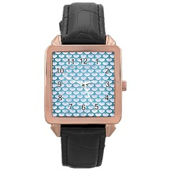 Scales3 White Marble & Teal Brushed Metal (r) Rose Gold Leather Watch  by trendistuff