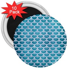 Scales3 White Marble & Teal Brushed Metal 3  Magnets (10 Pack)  by trendistuff