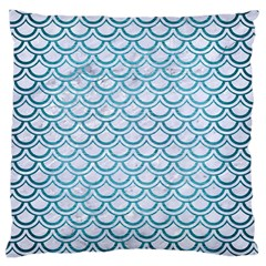 Scales2 White Marble & Teal Brushed Metal (r) Large Cushion Case (one Side) by trendistuff