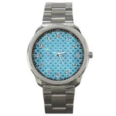 Scales2 White Marble & Teal Brushed Metal Sport Metal Watch by trendistuff