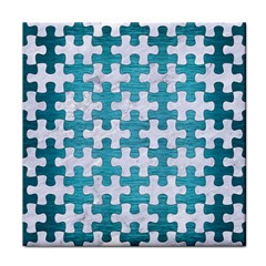 Puzzle1 White Marble & Teal Brushed Metal Face Towel by trendistuff