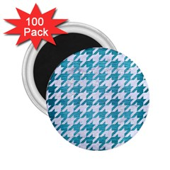 Houndstooth1 White Marble & Teal Brushed Metal 2 25  Magnets (100 Pack)  by trendistuff