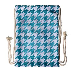 Houndstooth1 White Marble & Teal Brushed Metal Drawstring Bag (large) by trendistuff