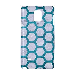 Hexagon2 White Marble & Teal Brushed Metal (r) Samsung Galaxy Note 4 Hardshell Case by trendistuff