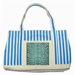Damask2 White Marble & Teal Brushed Metal (r) Striped Blue Tote Bag by trendistuff