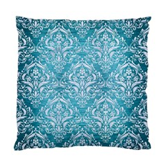 Damask1 White Marble & Teal Brushed Metal Standard Cushion Case (two Sides) by trendistuff