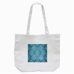 Damask1 White Marble & Teal Brushed Metal Tote Bag (white) by trendistuff