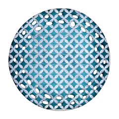Circles3 White Marble & Teal Brushed Metal Ornament (round Filigree) by trendistuff