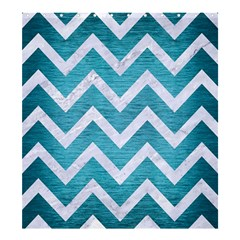 Chevron9 White Marble & Teal Brushed Metal Shower Curtain 66  X 72  (large)  by trendistuff