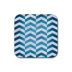 Chevron2 White Marble & Teal Brushed Metal Rubber Square Coaster (4 Pack)  by trendistuff