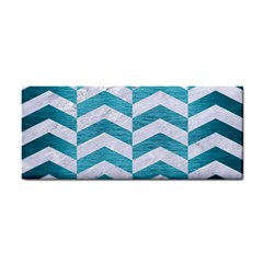 Chevron2 White Marble & Teal Brushed Metal Cosmetic Storage Cases by trendistuff