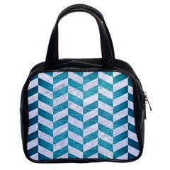 Chevron1 White Marble & Teal Brushed Metal Classic Handbags (2 Sides) by trendistuff