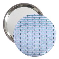 Brick1 White Marble & Teal Brushed Metal (r) 3  Handbag Mirrors