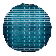 Brick1 White Marble & Teal Brushed Metal Large 18  Premium Flano Round Cushions by trendistuff