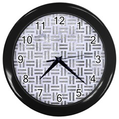 Woven1 White Marble & Silver Paint (r) Wall Clocks (black) by trendistuff