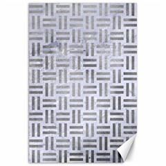 Woven1 White Marble & Silver Paint (r) Canvas 20  X 30   by trendistuff