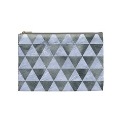 Triangle3 White Marble & Silver Paint Cosmetic Bag (medium)  by trendistuff