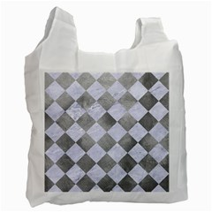 Square2 White Marble & Silver Paint Recycle Bag (one Side) by trendistuff
