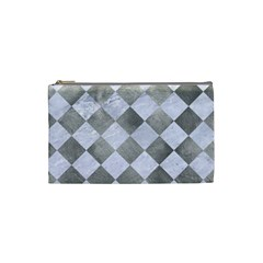 Square2 White Marble & Silver Paint Cosmetic Bag (small)  by trendistuff
