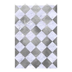 Square2 White Marble & Silver Paint Shower Curtain 48  X 72  (small)  by trendistuff