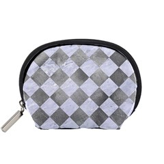 Square2 White Marble & Silver Paint Accessory Pouches (small)  by trendistuff