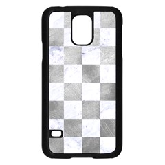 Square1 White Marble & Silver Paint Samsung Galaxy S5 Case (black) by trendistuff