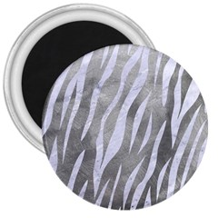 Skin3 White Marble & Silver Paint 3  Magnets by trendistuff