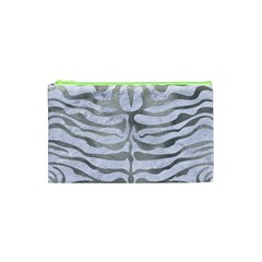 Skin2 White Marble & Silver Paint (r) Cosmetic Bag (xs) by trendistuff