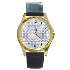 Scales2 White Marble & Silver Paint (r) Round Gold Metal Watch by trendistuff