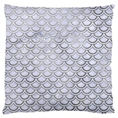 Scales2 White Marble & Silver Paint (r) Standard Flano Cushion Case (one Side) by trendistuff