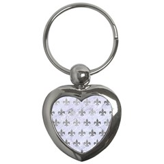 Royal1 White Marble & Silver Paint Key Chains (heart)  by trendistuff