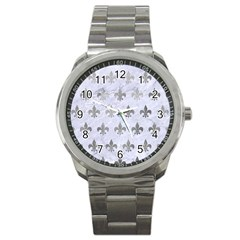 Royal1 White Marble & Silver Paint Sport Metal Watch by trendistuff