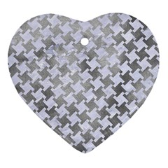 Houndstooth2 White Marble & Silver Paint Ornament (heart) by trendistuff