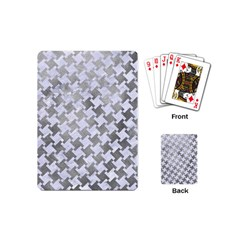 Houndstooth2 White Marble & Silver Paint Playing Cards (mini)  by trendistuff