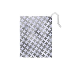 Houndstooth2 White Marble & Silver Paint Drawstring Pouches (small)  by trendistuff