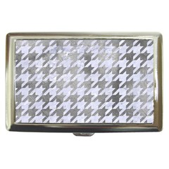 Houndstooth1 White Marble & Silver Paint Cigarette Money Cases by trendistuff
