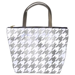 Houndstooth1 White Marble & Silver Paint Bucket Bags by trendistuff