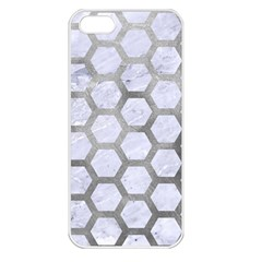 Hexagon2 White Marble & Silver Paint (r) Apple Iphone 5 Seamless Case (white) by trendistuff