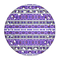Vintage Striped Ornate Pattern Ornament (round Filigree) by dflcprints