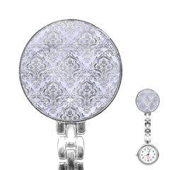 Damask1 White Marble & Silver Paint (r) Stainless Steel Nurses Watch by trendistuff