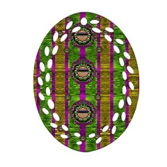 Sunset Love In The Rainbow Decorative Oval Filigree Ornament (two Sides) by pepitasart